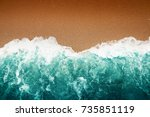top view  wave of turquoise... | Shutterstock . vector #735851119