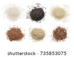 set of various rice isolated on ... | Shutterstock . vector #735853075