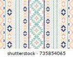 seamless ethnic pattern.... | Shutterstock .eps vector #735854065