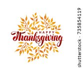 happy thanksgiving day template | Shutterstock .eps vector #735854119