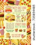fast food restaurant lunch... | Shutterstock .eps vector #735854485