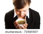 woman with cup of coffee | Shutterstock . vector #73585507