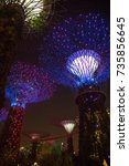 Small photo of SUPERTREE GROVE, GARDENS BY THE BAY, SINGAPORE, SEPTEMBER, 2016: light show of Supertree Grove at night in Gardens by the bay Singapore