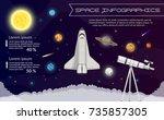 solar system space shuttle... | Shutterstock .eps vector #735857305