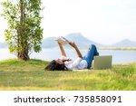 lifestyle girl enjoy listening... | Shutterstock . vector #735858091