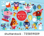 christmas set with cute animals ...   Shutterstock .eps vector #735859009