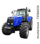 New Blue Tractor Isolated On...