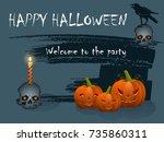 festive halloween card on blue...   Shutterstock .eps vector #735860311