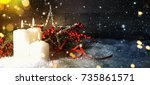 candels with christmas... | Shutterstock . vector #735861571