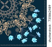 quarter shawl with paisley... | Shutterstock .eps vector #735862489