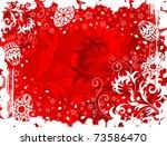 easter floral grunge frame with ... | Shutterstock .eps vector #73586470