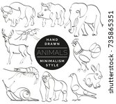 set of animals in hand drawn... | Shutterstock .eps vector #735865351