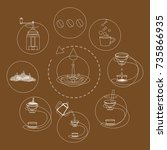 coffee machine vector flat icon ... | Shutterstock .eps vector #735866935