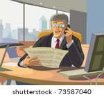 business man reading a... | Shutterstock .eps vector #73587040