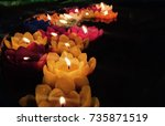 lamps and lotus flowers candles ... | Shutterstock . vector #735871519