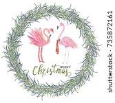 christmas tropical frame....   Shutterstock . vector #735872161