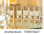 liqueur in small glasses on the ... | Shutterstock . vector #735873667