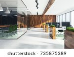 natural style open space office ... | Shutterstock . vector #735875389