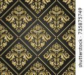 classic seamless vector golden...   Shutterstock .eps vector #735875749