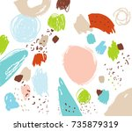 brush  marker  pencil  pastel... | Shutterstock .eps vector #735879319