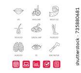 eye  neurology brain and vein... | Shutterstock .eps vector #735880681