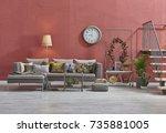 modern loft living room stairs... | Shutterstock . vector #735881005