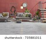 modern loft living room stairs... | Shutterstock . vector #735881011