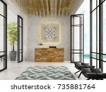 interior of a hotel spa... | Shutterstock . vector #735881764