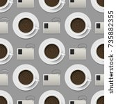 coffee cups top view realistic... | Shutterstock .eps vector #735882355
