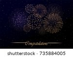 firework show on night sky... | Shutterstock . vector #735884005