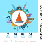 infographics elements. yacht... | Shutterstock .eps vector #735884221