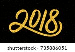 happy new year 2018 greeting... | Shutterstock .eps vector #735886051