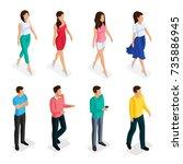 fashion isometric people  men... | Shutterstock .eps vector #735886945
