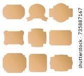 set of brown cardboard labels ... | Shutterstock .eps vector #735887167