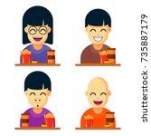 vector set illustration of... | Shutterstock .eps vector #735887179