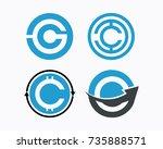 letter c  coin logo icon set | Shutterstock . vector #735888571
