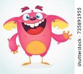 happy cartoon monster.... | Shutterstock .eps vector #735891955