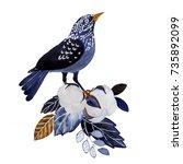Blue Nice Winter Bird Sitting...