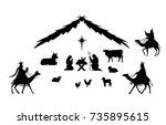 traditional christmas scene.... | Shutterstock .eps vector #735895615