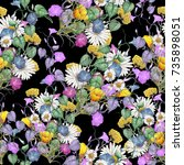 seamless wildflowers pattern | Shutterstock . vector #735898051