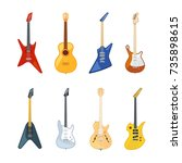 acoustic and rock guitar.... | Shutterstock .eps vector #735898615