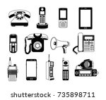 silhouette of telephones and... | Shutterstock .eps vector #735898711