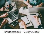 laptop  mobile phone  tablet... | Shutterstock . vector #735900559