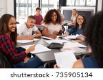 high school kids looking to... | Shutterstock . vector #735905134