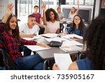 high school kids raise hands ... | Shutterstock . vector #735905167