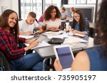 teacher sitting with high... | Shutterstock . vector #735905197