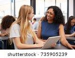 teacher helps blonde teenage...   Shutterstock . vector #735905239
