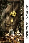 Small photo of think about death alive dead still life skull leaves autumn wooden background philosophy of thought meditation eternal lamp art