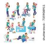 set of mother and baby in... | Shutterstock .eps vector #735908911