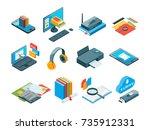 isometric symbols of online... | Shutterstock .eps vector #735912331